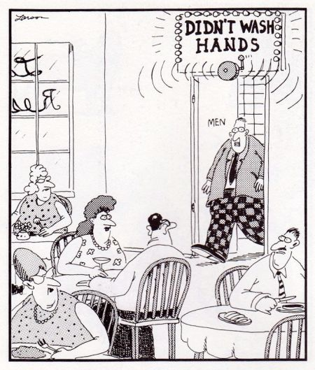 Did not wash hand (c) The Far Side