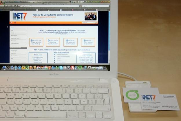 Carte de visite NET-7 et son tag NFC