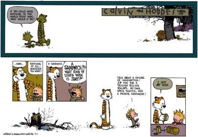 Calvin et Hobbes - le sandwich (c) Bill Watterson