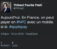 Tweet de Thibaut Faurès Fustel de Coulanges, CEO be2bill et Dalenys