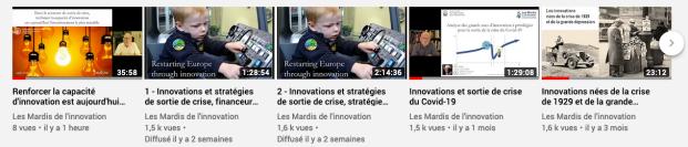 Chaine YouTube des Mardis de l'Innovation